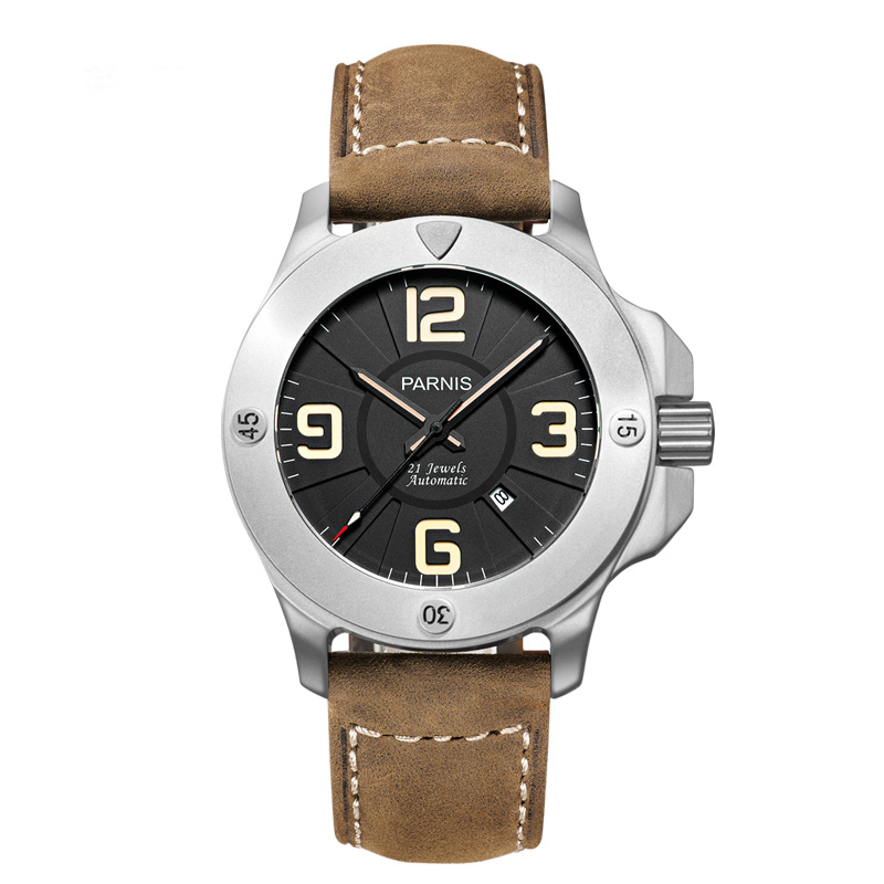 Parnis 47mm Military Mechanical Watches Mens Watch Top Brand Luxury Automatic Watch Sapphire Crystal Genuine Leather Band