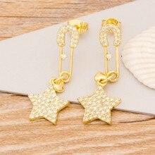 2020 nowych moda długie kolczyki wiszące urok złoty kolor miedź cyrkon gwiazda biżuteria dla kobiet Best Party prezent na ślub/urodziny