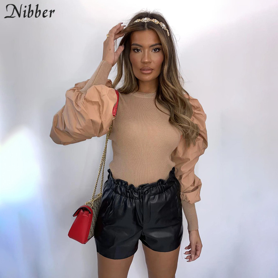 Nibber Autumn Retro French Romantic Knitting Tops Women Office Lady High Street Elegant T-shirt Mujer Club Party Night Slim Tees