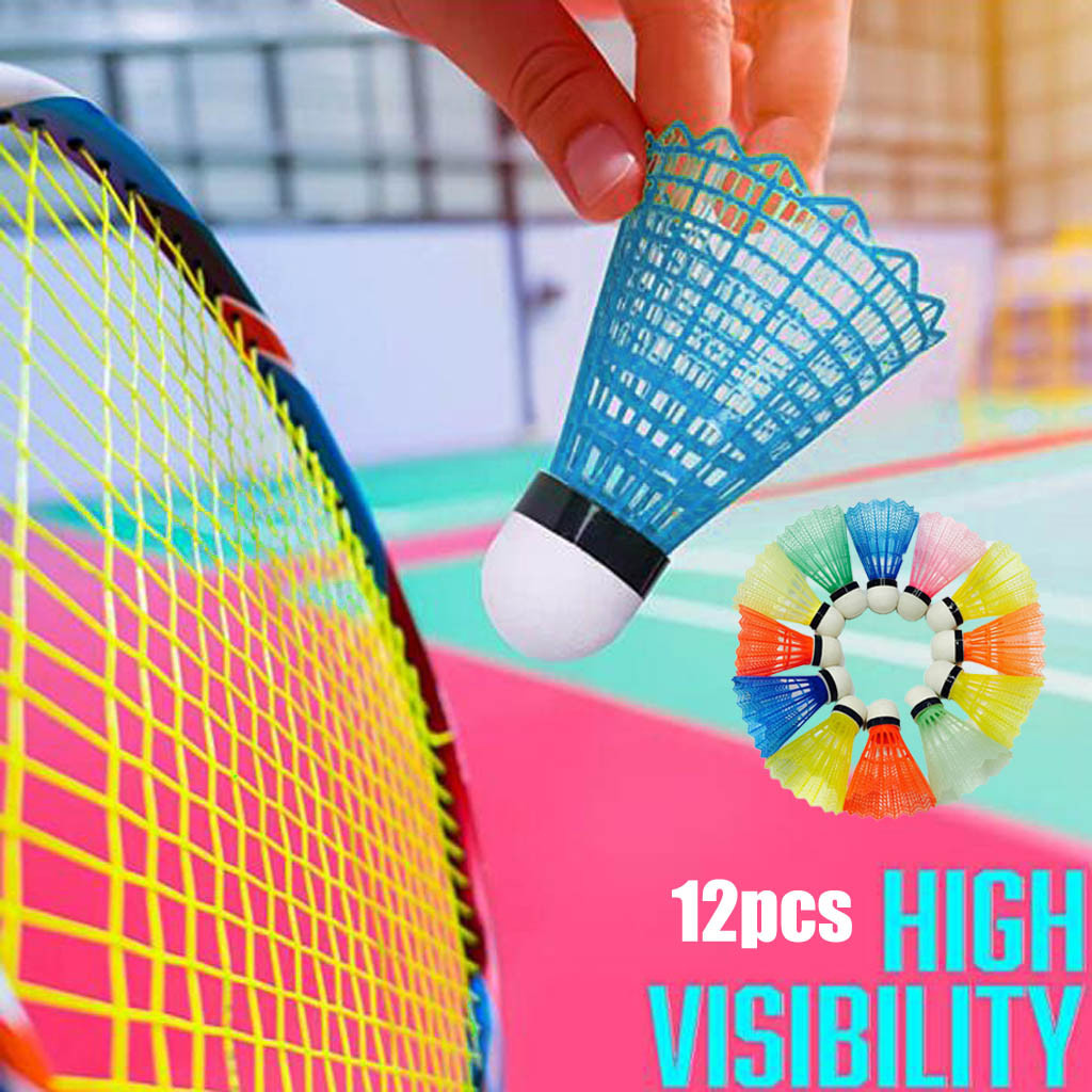 #H35 12pcs Colorful Badminton Balls High Quality Shuttlecocks Plastic Products Sport Training Trainer Tools Outdoor Supplies