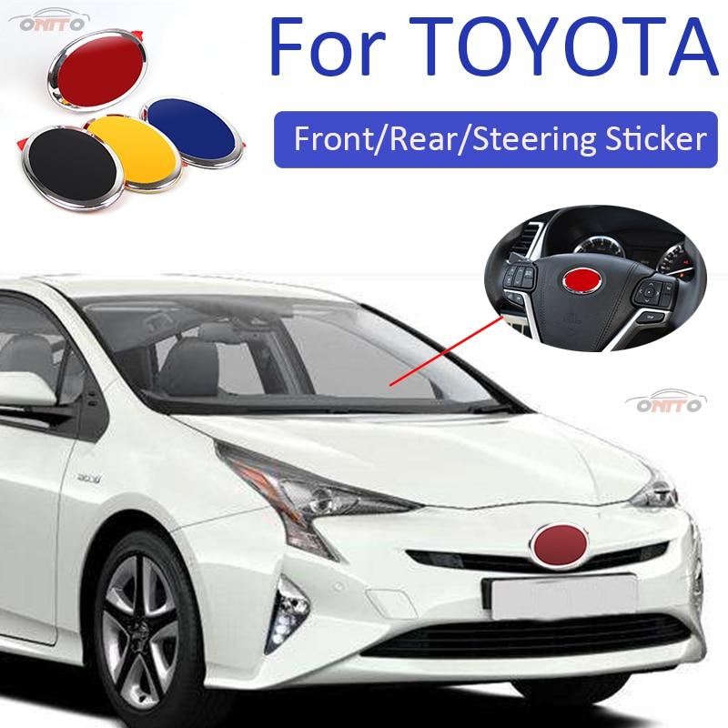 Car Styling ABS Front Hood Rear Boot Emblem Steering Sticker For Carolla Camry Reiz Sienna prius Land Cruiser Rav4