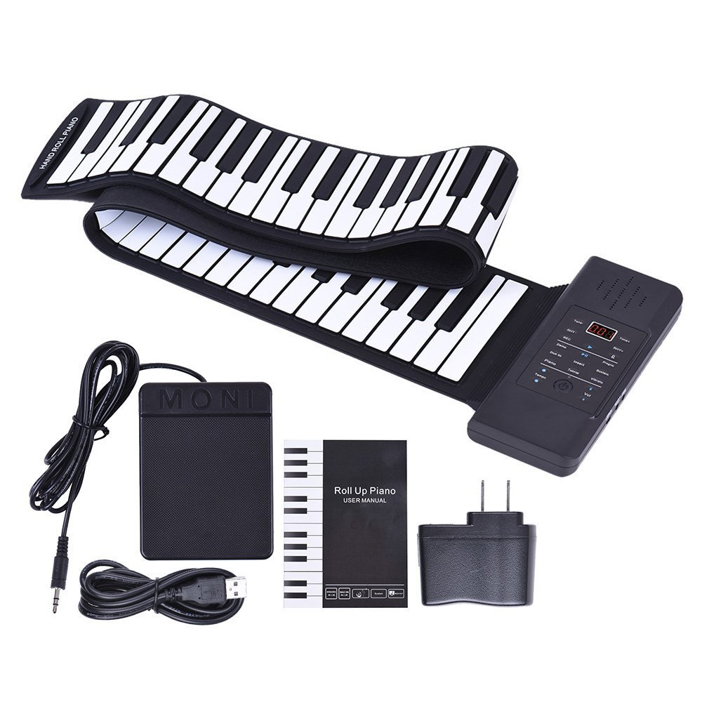 Portable 88-key Folding Silicone Hand-rolled Keyboard with Thickened Hand-rolled Piano with Chord Version