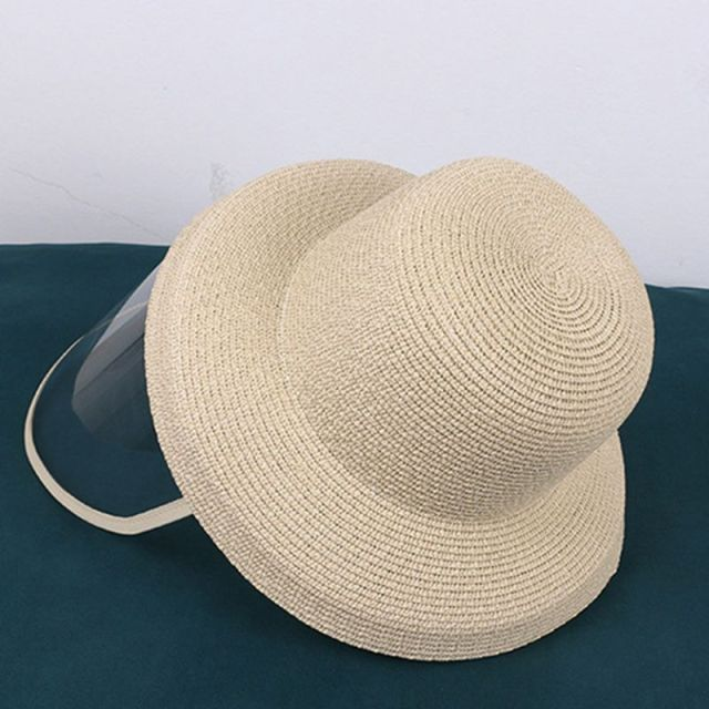 Women Beach Straw Sun Hat with Anti-Spitting Splash Protective Face Shield Anti-Fog Saliva Dustproof Mask Fisherman Cap 2