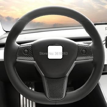 For Tesla Model 3 Sedan 2017 2018 2019 Carbon Fiber Steering Wheel Panel Cover Frame Trim Sticker Car Styling Accessories