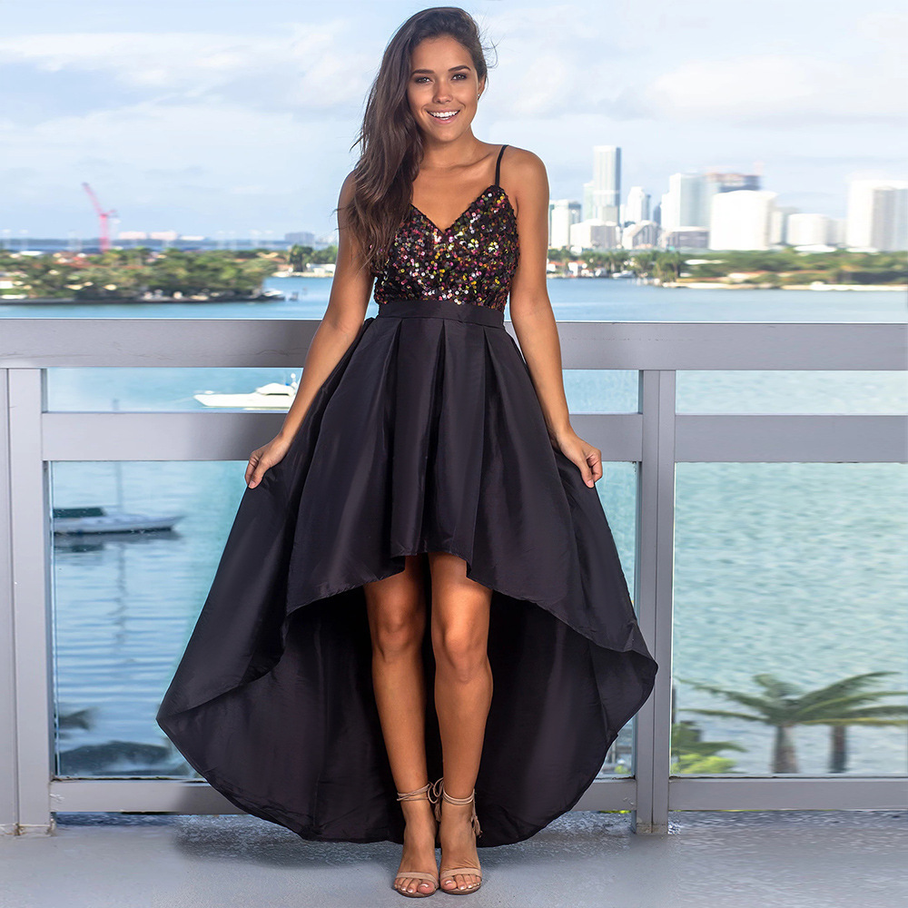 Sexy Prom Dresses Sequined Asymmetrical Deep V-Neck Spaghetti Straps Backless Sparkle Evening Party Gowns Vestidos De Gala 2020