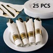 Высококачественная золотистая одноразовая пластиковая посуда набор столовых приборов ложки в западном стиле Золотая посуда набор из 25 предметов