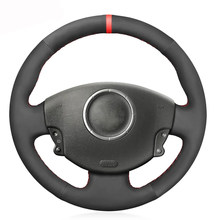 Czarny PU sztuczny zamsz osłona na kierownicę do samochodu Renault Megane 2 2002-2009 Kangoo (ZE) 2008- 2013 Scenic 2 2003-2010