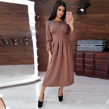 Women Vintage Hollow Out A-line Party Long Dress Long Sleeve