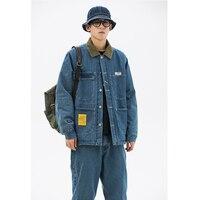 Men Vintage Corduroy Splice Denim Loose Thick Faux Lamb Cargo Jacket Male Japan Streetwear Hip Hop Jean Coat Outerwear