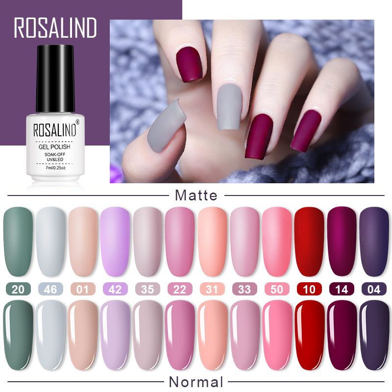 ROSALIND Matte Nail Polish Hybrid Varnishes UV All For Manicure Gel Polish Semi Permanent Soak Off Matt Gel Nail Polish Lacquer