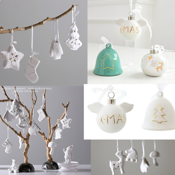 White Ceramic Bell Home Decorations For Christmas Tree Hanging Ornament Cute Children's Toy Gift New Year Birthday Party Wedding
