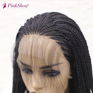 Image 5 - PINKSHOW Black Braided Wigs For Black Women Long Synthetic Lace Front Wig Heat Resistant Fiber Natural Braids Wig With Baby Hair