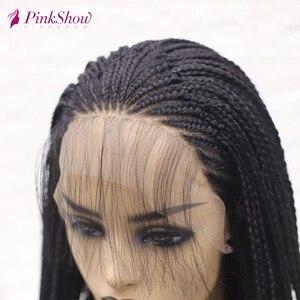Image 5 - PINKSHOW pelucas trenzadas negras para mujeres negras, sintético largo peluca con malla frontal, fibra resistente al calor, peluca con trenzas naturales con pelo de bebé