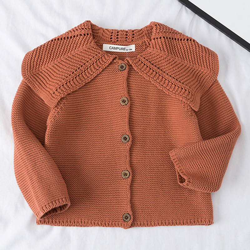 Baby Girls Cardigan 0-3 Years Old Baby Sweater Autumn Winter Lotus Leaf Collar Solid Color Children's Sweater Kids Baby Cardigan 6