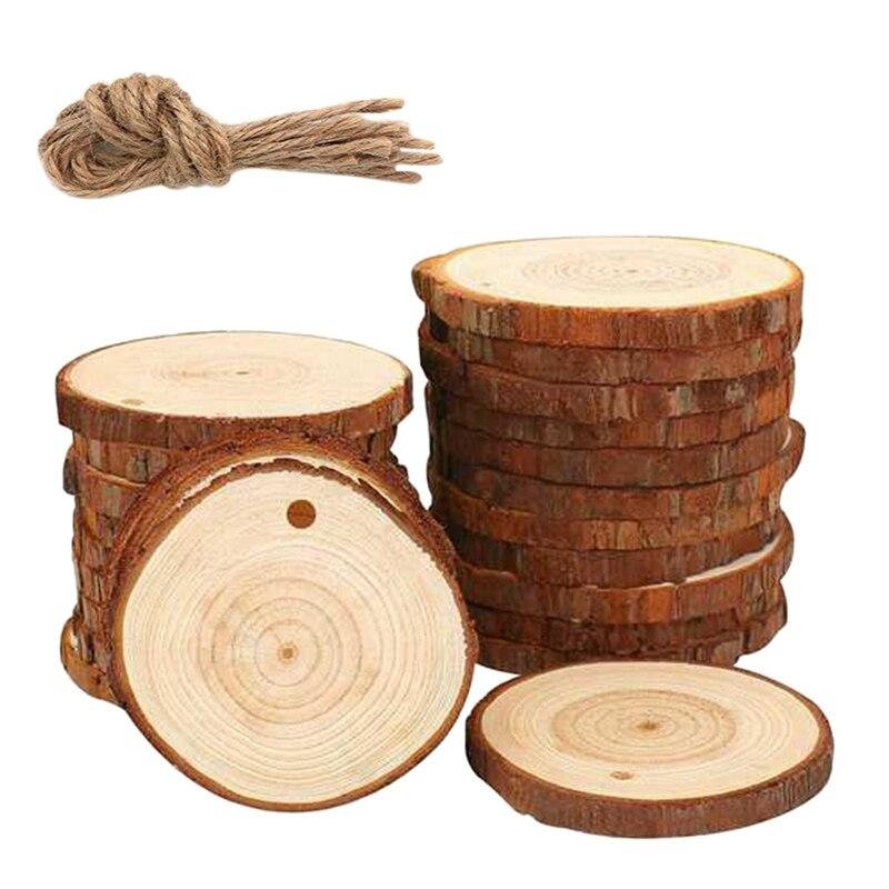 50 шт кусочков натурального дерева, набор для рукоделия из дерева, необработанные предварительно просверленные с отверстием деревянные круги, отлично подходят для творчества и рукоделия, Рождественская Орна