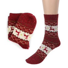 Cute Christmas Deer Design Knit Wool Socks Casual Warm Winter Mens Women Unisex Comfortable Soxs For Gift