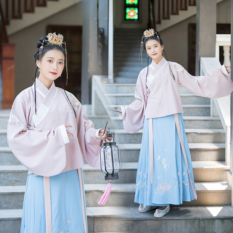 Ming Dynasty Hanfu Women Chinese Traditional And Ancient Classical Folk Dance Performance Stage Clothes Pink Blue Hanfu VO408