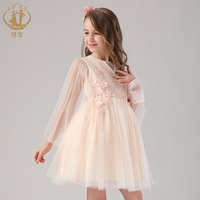 Nimble princess girl voile shawl design dress applique for wedding birthday party Christmas dress design Kids Costume Teenage