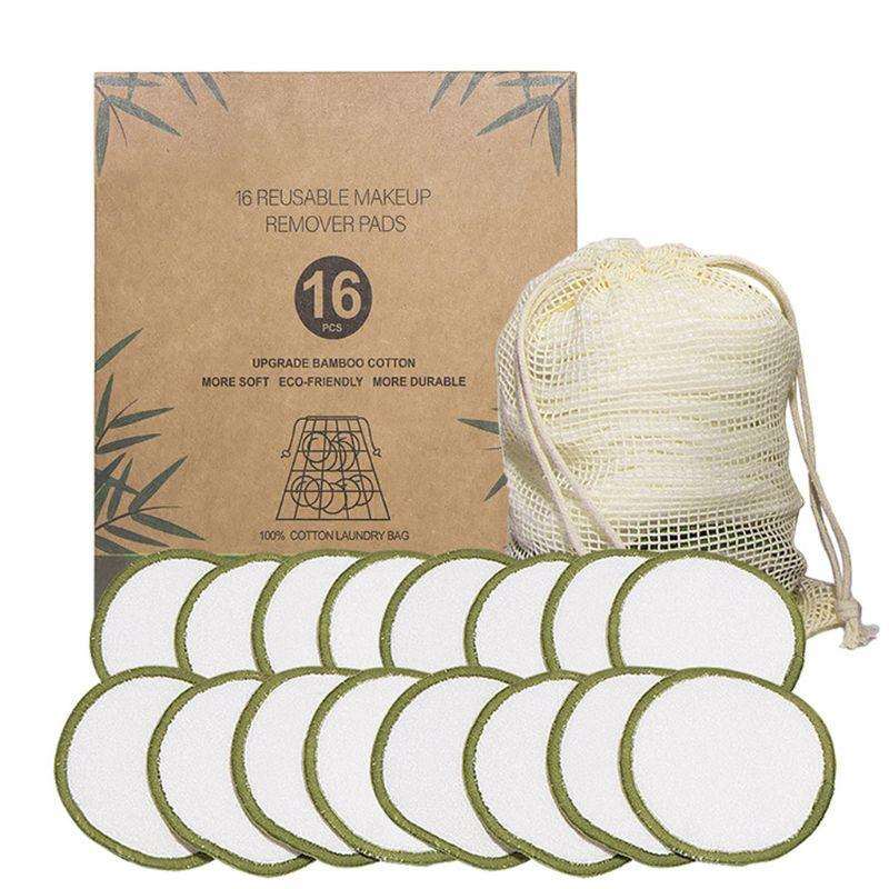 16 pièces/ensemble nouveau tampon de coton de maquillage en fibers de bambou réutilisable