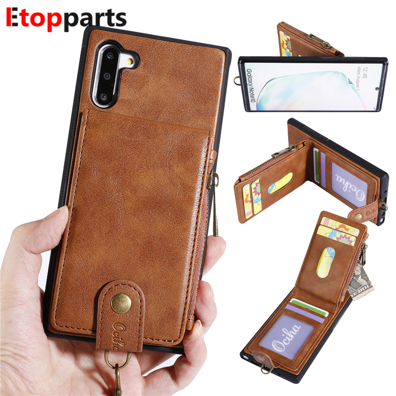 Multifunction Zipper Wallet Leather Case For Samsung Galaxy Note 10 Plus Phone Cover