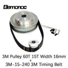 цена на BEMONOC HTD 3M 60T 15T Width 16mm + 3M Belt Width 15mm Length 240mm Timing Pulley Belt Set kit Reduction Ratio 4:1 For CNC