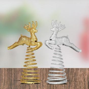 New Spring Running Deer Christmas Tree Top Ornament Topper Xmas Party Decoration Christmas Supplies Ornaments Boze Narodzenie image