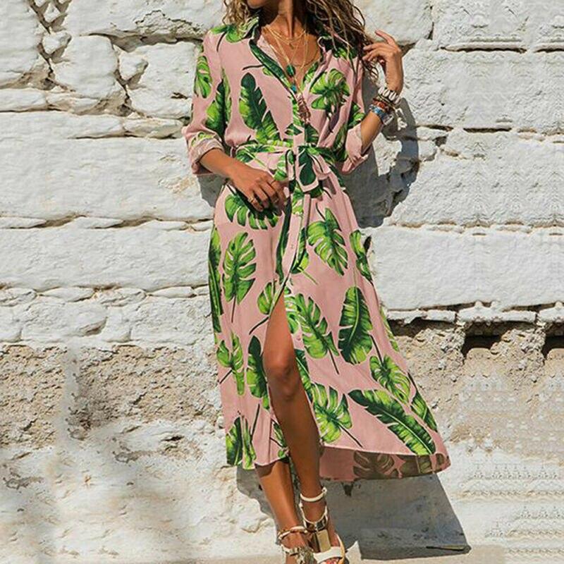 Long Sleeve Dress Green Tropical Beach Vintage Midi Dresses Boho Casual V Neck Belt Lace Up Tunic Draped Plus Size Dress New Hot