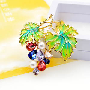 Brooches Jewelry Grapes Cindy Xiang Fruit Summer-Style Women Enamel Rhinestone for High-Quality