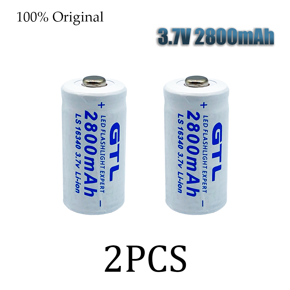 16340 3.7V 2800mAh Lithium Li-ion 16340 Battery CR123A Rechargeable Batteries 3.7V CR123 for Laser Pen LED Flashlight Cell
