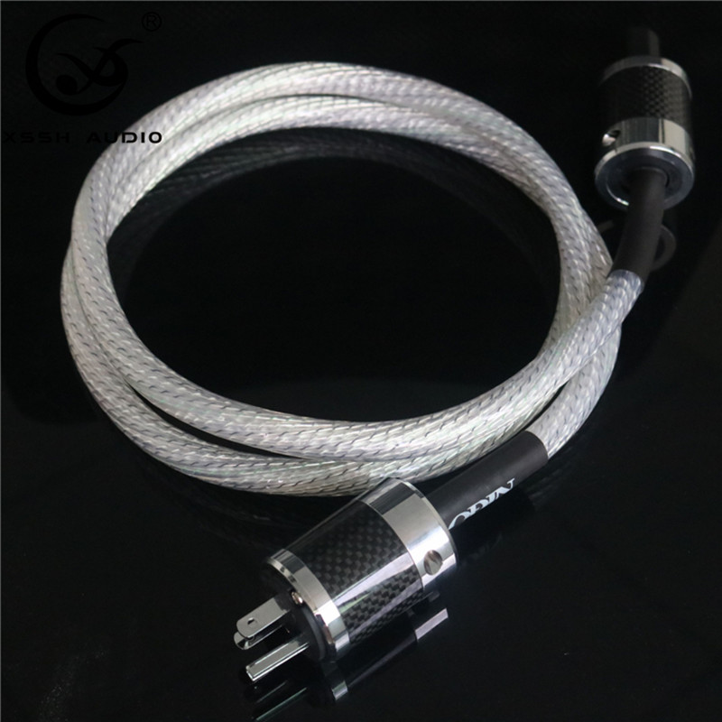 XSSH Audio haut de gamme bricolage hifi 13mm OD 9 core 16AWG téflon Vahalla cordon d'alimentation avec connecteur femelle mâle en Fiber de carbone AC