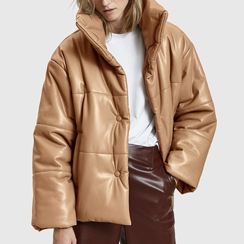 AGong Solid PU Leather Parkas Women Fashion High Imitation Leather Coats Women Elegant Thick Cotton Jackets Female Ladies KG