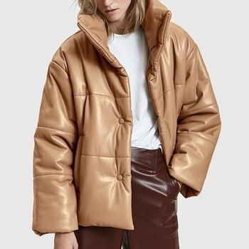 AGong Solid PU Leather Parkas Women Fashion High Imitation Leather Coats Women Elegant Thick Cotton Jackets Female Ladies KG