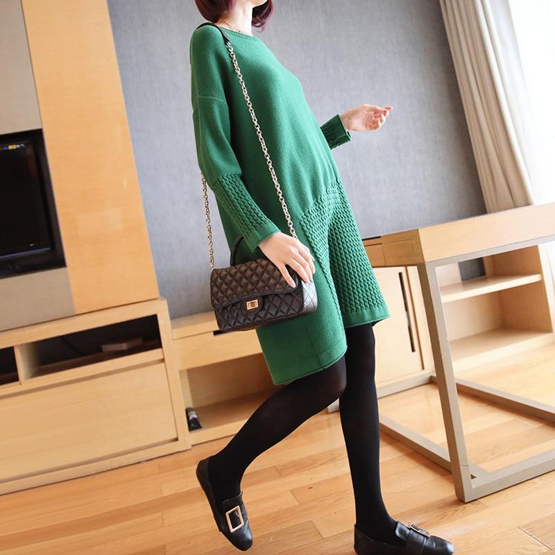 Женский свитер с длинными рукавами, Свободная трикотажная юбка с разрезом в Корейском стиле, осень 2019