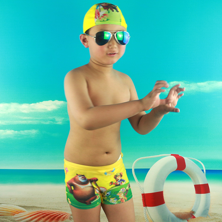 CHILDREN'S Swimming Trunks Swimming Cap Set Cartoon BOY'S Swimsuit