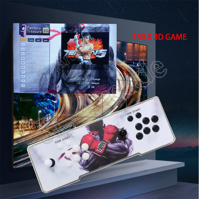 Pandora Treasure II Arcade Console,2650 HD Games,1920x1080P, Search/Save Games,Support 3D Games, Support 4 Players Online