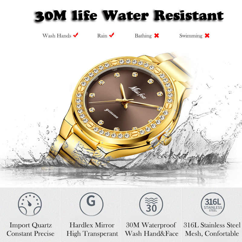 MISSFOX אלגנטי אישה שעון יוקרה מותג נקבה שעוני יד יפן Movt 30M עמיד למים זהב יקר אנלוגי ז 'נבה קוורץ שעון