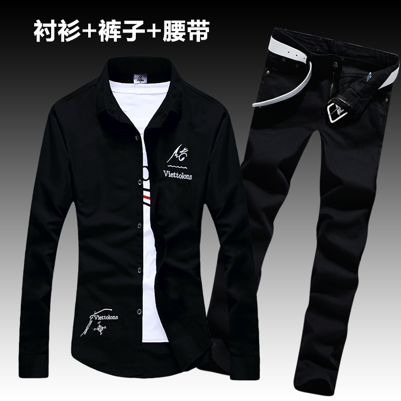 New Halozeroo Men's Long Sleeve Shirt Letters Printed Cotton Blends Shirts Jeans Pants Pencil Trousers Casual Style 2pcs Set X34