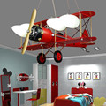Ретро креативная люстра в виде самолета для мальчиков и девочек, светильник в спальню для детской комнаты, светодиодный светильник с рисунк...