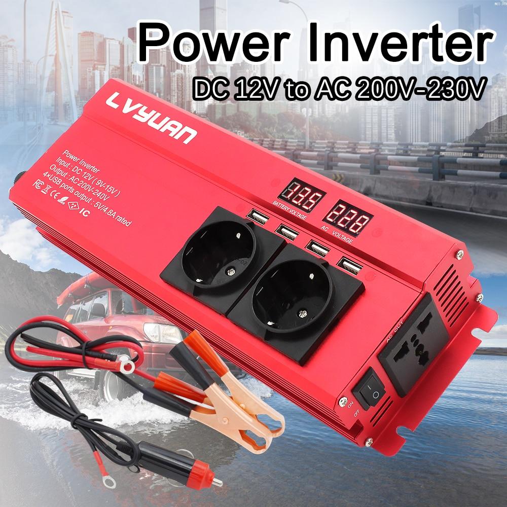 6000 Вт автомобильный инвертор постоянного тока 12 В в переменный ток 220 В адаптер зарядного устройства преобразователь напряжения преобразов...