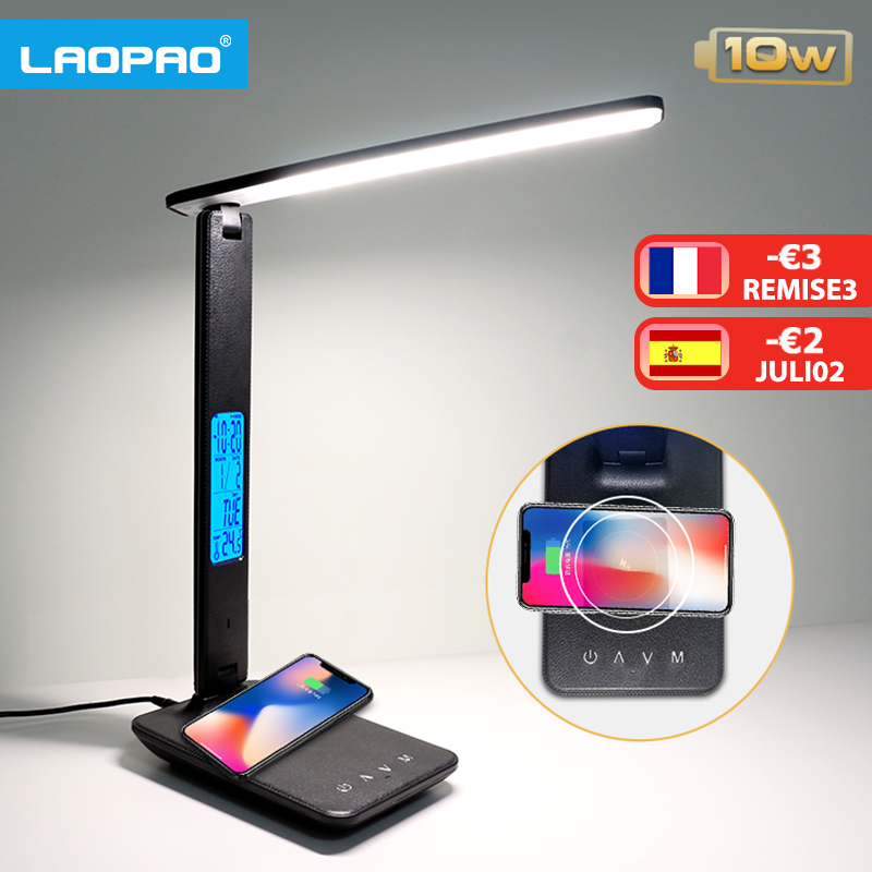 LAOPAO 10W QI Wireless Charging LED Desk Lamp With Calendar Temperature Alarm Clock Eye Protect Study Business Light Table Lamp