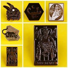 Prajna Rib cage Scorpion Skeleton night Devil Satan Enamel Pins Brooch Badge Denim lapel pin Jewelry Gifts for Women Men friends