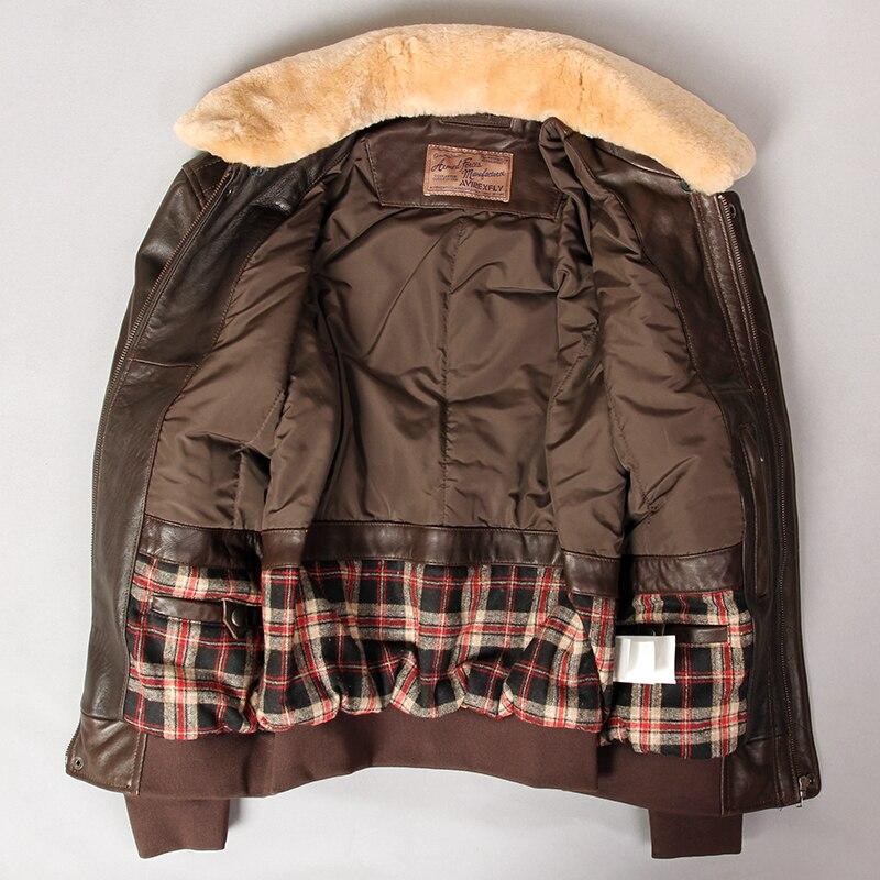 Hbfc5194d914041f482e7ff16a0868a55M Military air force flight jacket fur collar genuine leather jacket men winter dark brown sheepskin coat pilot bomber jacket