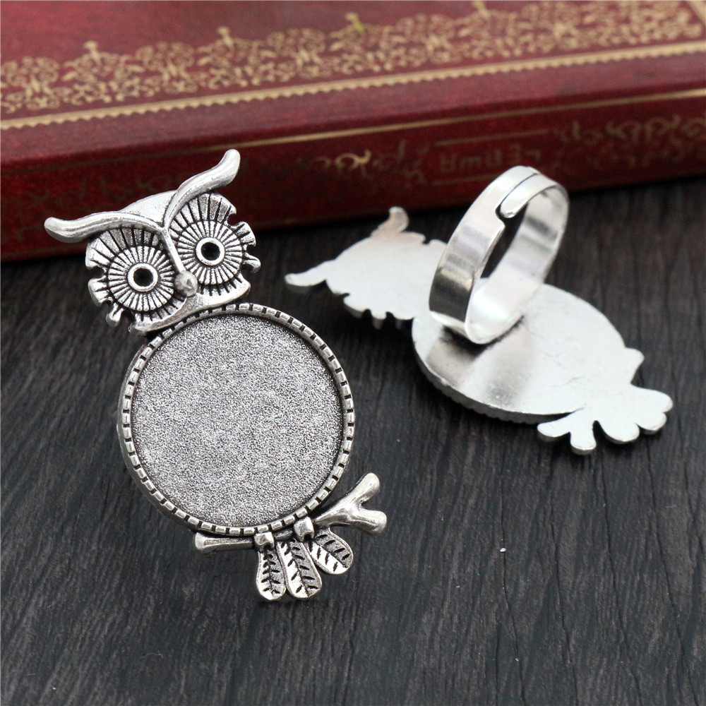 20mm 5pcs Antique Silver Plated Brass Adjustable Ring Settings Blank/Base,Fit 20mm Glass Cabochons,Buttons;Ring Bezels K4-13