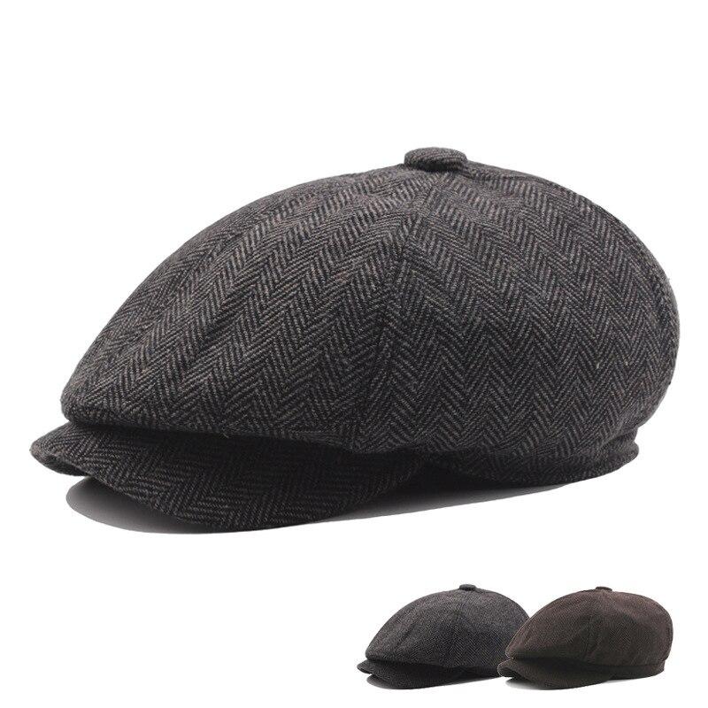 Mens Tweed Newsboy Cap Peaky Blinders Baker Boy Check Grandad Hat 8 Panel