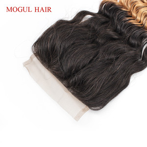 Image 5 - MOGUL HAIR Deep Wave 4*4 Lace Closure Natural Color 2, 4 Dark Brown 1B 27 Ombre Honey Blonde Indian Remy Human Hair