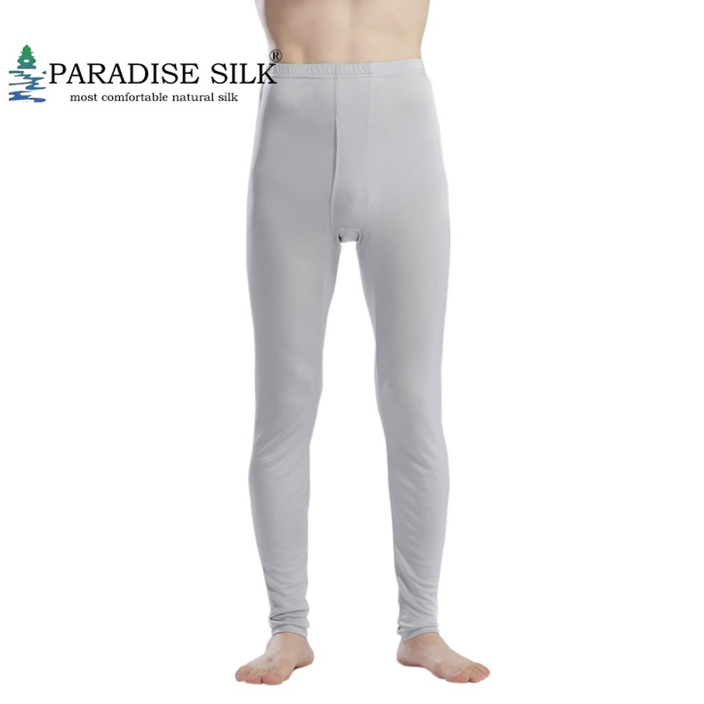 Cashmere Silk Ribbed Knit Men Thermal Pant Long Johns Bottom Solid Size S M L XL