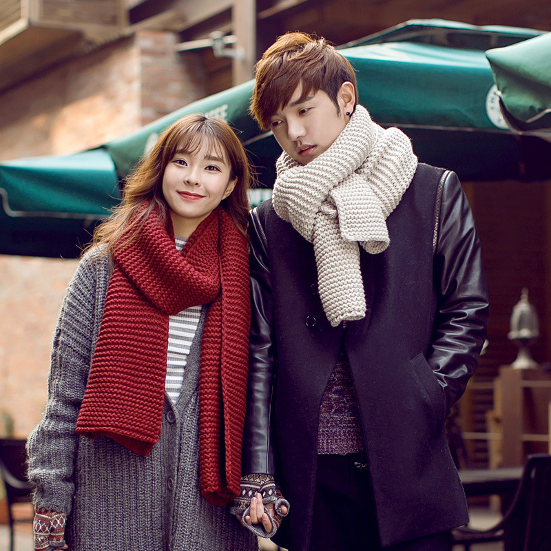 New Women Men Scarf Korean Wool Female Student Long Thick Warm Knitting Winter Red Black White Beige Scarf