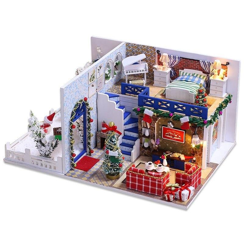IIECREATE Furniture DIY DollHouse Wooden Miniature Doll Houses Furniture Puzzle Handmade Dollhouse Craft Toys for Children Gif