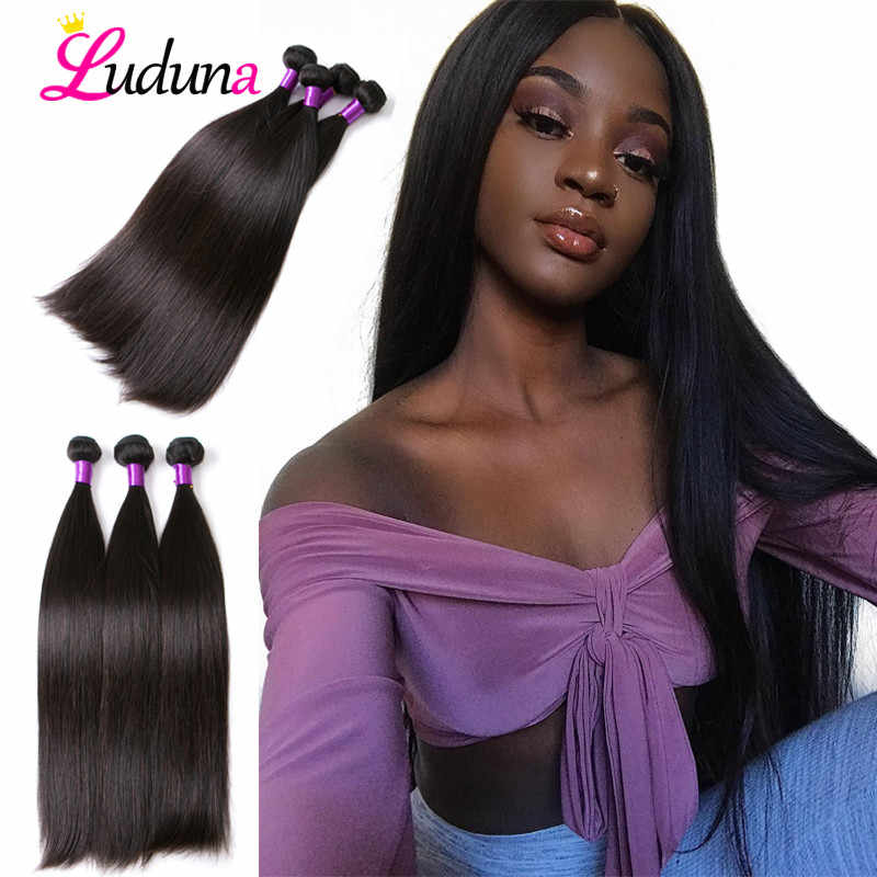 Luduna Straight Hair Bundles Brazilian Hair Bundles Remy Human Hair Extensions 3/4 Bundle Deals Weave Double Drawn Weave