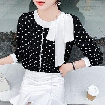 Blusa para Mujer, Blusas De Moda para Mujer, novedad De 2020, camisas De punto impreso De gasa con cuello De lazo De estilo coreano De manga larga para Mujer 210J